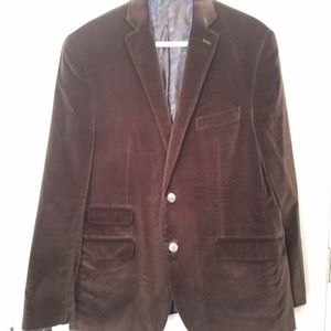 Tallia Brown Velvet Sport Coat Orange Collection